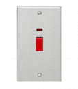 Knightsbridge 45A DP Switch with Neon (double size) - Square Edge Brushed Chrome - (CS82NBC)