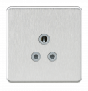Knightsbridge Screwless 5A Unswitched Round Socket - Brushed Chrome with Grey Insert - SF5ABCG