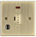 Knightsbridge 13A Fused Spur Unit with Neon & Flex Outlet - Square Edge Antique Brass - (CS6AB)