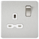 Knightsbridge Screwless 13A 1G DP switched Socket - Brushed Chrome with white Insert - SFR7000BCW