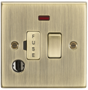 Knightsbridge 13A Switched Fused Spur Unit with Neon & Flex Outlet - Square Edge Antique Brass - (CS63FAB)