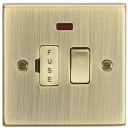 Knightsbridge 13A Switched Fused Spur Unit with Neon - Square Edge Antique Brass - (CS63NAB)