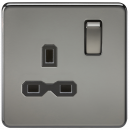 Knightsbridge Screwless 13A 1G DP switched socket - black nickel with black insert - SFR7000BN