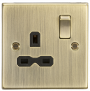 Knightsbridge 13A 1G DP Switched Socket with Black Insert - Square Edge Antique Brass - (CS7AB)