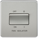 Screwless 10AX 3 Pole Fan Isolator Switch - Brushed Chrome