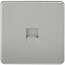 Knightsbridge Screwless Telephone Extension Socket - Brushed Chrome - SF7400BC
