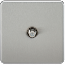 Knightsbridge Screwless 1G SAT TV Outlet (Non-Isolated) - Brushed Chrome - SF0150BC
