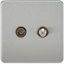 Screwless TV & SAT TV Outlet (Isolated) - Brushed Chrome