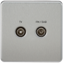 Screwless Screened Diplex Outlet (TV & FM DAB) - Brushed Chrome