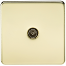 Knightsbridge Screwless 1G TV Outlet (Non-Isolated) - Polished Brass - SF0100PB