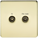 Screwless Screened Diplex Outlet (TV & FM DAB) - Polished Brass