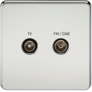 Knightsbridge Screwless Screened Diplex Outlet (TV & FM DAB) - Polished Chrome - SF0160PC