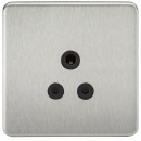 Knightsbridge Screwless 5A Unswitched Socket - Brushed Chrome with Black Insert - SF5ABC