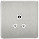 Knightsbridge Screwless 5A Unswitched Socket - Brushed Chrome with White Insert - SF5ABCW