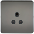 Knightsbridge Screwless 5A Unswitched Socket - Black Nickel with Black Insert - SF5ABN