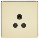 Knightsbridge Screwless 5A Unswitched Socket - Polished Brass with Black Insert - SF5APB