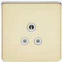 Knightsbridge Screwless 5A Unswitched Socket - Polished Brass with White Insert - SF5APBW