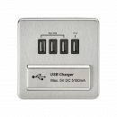 Knightsbridge Screwless Quad USB Charger Outlet (5.1A) - Brushed Chrome with Black Insert - SFQUADBC