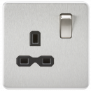 Knightsbridge Screwless 13A 1G DP switched Socket - Brushed Chrome with black insert - SFR7000BC