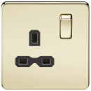 Knightsbridge Screwless 13A 1G DP switched socket - polished brass with black insert - SFR7000PB