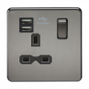 Knightsbridge Screwless 13A 1G switched socket with dual USB charger (2.1A) - black nickel with black insert - SFR9901BN