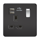 Knightsbridge Screwless 13A 1G switched socket with dual USB charger (2.1A) - matt black with chrome rocker - SFR9901MB