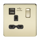 Knightsbridge Screwless 13A 1G switched socket with dual USB charger (2.1A) - polished brass with black insert - SFR9901PB