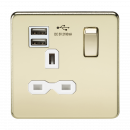 Knightsbridge Screwless 13A 1G switched socket with dual USB charger (2.1A) - polished brass with white insert - SFR9901PBW