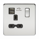 Knightsbridge Screwless 13A 1G switched socket with dual USB charger (2.1A) - polished chrome with black insert - SFR9901PC