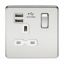 Knightsbridge Screwless 13A 1G switched socket with dual USB charger (2.1A) - polished chrome with white insert - SFR9901PCW