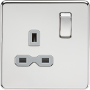 Knightsbridge Screwless 13A 1G DP switched socket - polished chrome with grey insert - SFR7000PCG