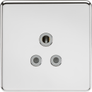 Knightsbridge Screwless 5A Unswitched Socket - Polished Chrome with Grey Insert - SF5APCG