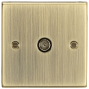 Knightsbridge TV Outlet (non-isolated) - Square Edge Antique Brass - (CS010AB)