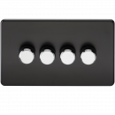 Screwless 4G 2-way 10-200W (5-150W LED) trailing edge dimmer - Matt Black with chrome knobs (SF2184MB)