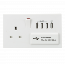 Knightsbridge 13A Switched Socket with Quad USB Charger 5V DC 5.1A (ST7USB4)
