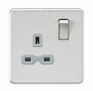Knightsbridge Screwless 13A 1G DP switched Socket - Brushed Chrome with grey Insert - SFR7000BCG