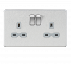 Knightsbridge Screwless 13A 2G DP switched socket - Brushed chrome with grey insert - SFR9000BCG