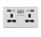 Knightsbridge 13A 2G Switched Socket with Dual USB Charger (2.4A) - Brushed Chrome with Black Insert - SFR9224BC