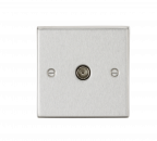 Knightsbridge TV Outlet (non-isolated) - Square Edge Brushed Chrome - (CS010BC)