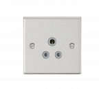 Knightsbridge 5A Unswitched Socket - Square Edge Brushed Chrome Finish with Grey Insert - (CS5ABCG)
