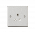 Knightsbridge 5A Unswitched Socket - Square Edge Brushed Chrome Finish with White Insert - (CS5ABCW)