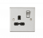 Knightsbridge 13A 1G DP Switched Socket with Black Insert - Square Edge Brushed Chrome - (CS7BC)