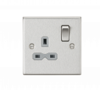 Knightsbridge 13A 1G DP Switched Socket with Grey Insert - Square Edge Brushed Chrome - (CS7BCG)