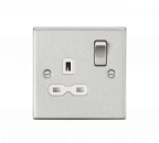 Knightsbridge 13A 1G DP Switched Socket with White Insert - Square Edge Brushed Chrome - (CS7BCW)