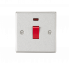 Knightsbridge 45A DP Switch with Neon (single size) - Square Edge Brushed Chrome - (CS81NBC)