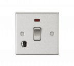 Knightsbridge 20A 1G DP Switch with Neon & Flex Outlet - Square Edge Brushed Chrome - (CS834FBC)