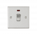 Knightsbridge 20A 1G DP Switch with Neon - Square Edge Brushed Chrome - (CS834NBC)