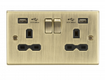 Knightsbridge13A 2G Switched Socket Dual USB Charger (2.4A) with Black Insert - Square Edge Antique Brass - (CS9224AB)