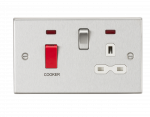 Knightsbridge 45A DP Cooker Switch & 13A Switched Socket with Neons & White Insert - Square Edge Brushed Chrome - (CS83BCW)