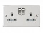 Knightsbridge 13A 2G DP Switched Socket with Grey Insert - Square Edge Brushed Chrome - (CS9BCG)